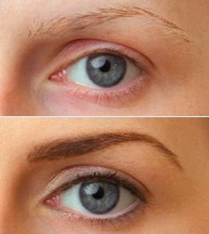 Перманентный макияж бровей - до и после